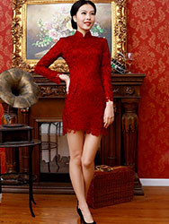 Wine red lace long sleeves qipao dress