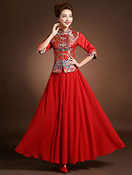 Red colorful brocade blouse and pure red skirt