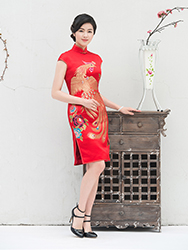 Chinese wedding Phoenix red qipao