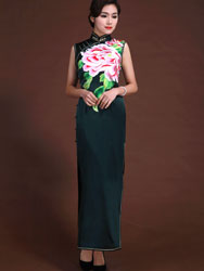Dark green peony embroidery long dress