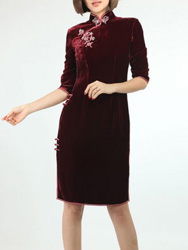 Dark red Velour Cheongsam SCV18