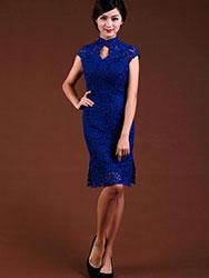 Sapphire blue lace  short cheongsam