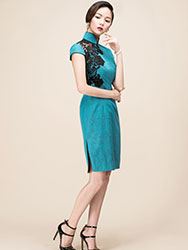 Light turquoise cotton short qipao dress