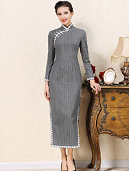 Gray wool stripes cheongsam dress