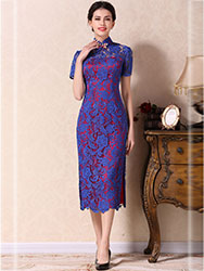 Blue lace dress with wine red lining