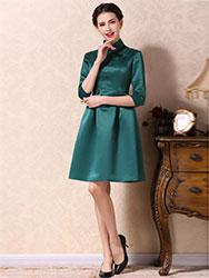 Green A-skirt qipao dress