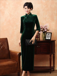 Dark green Velour Cheongsam SCV13