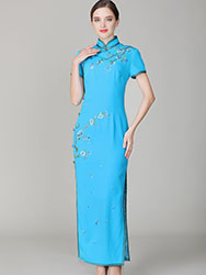 Lake-blue cheongsam dress with embroidery