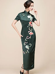 Dark green slik embroidery long cheongsam