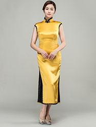 Yellow long cheongsam dress with black trim
