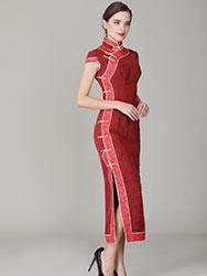 Jagged red Buttercup silk qipao dress