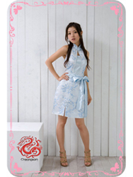 Light blue plum brocade halter qipao dress SMS47