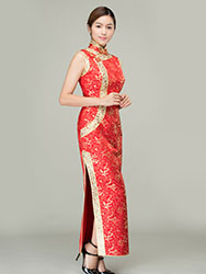 Red with golden dragons wedding cheongsam