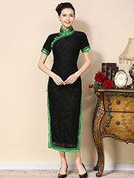 Black lace cheongsam dress  with green piping