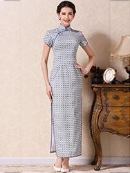 White-blue lattice long cheongsam dress
