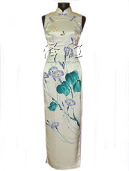 Ivory silk painted cheongsam dress