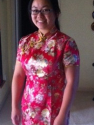 Nerissa 's  painted peony with  phonix embroidery patten cheongsam .