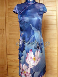 Blue lutos silk capped cheongsam dress SCS102
