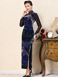 Blue velvet cheongsam dress with crane pattern