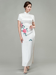 White with peonies hand-painted cheongsam dress