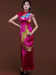 Rosy silk cheongsam with golden phoenix