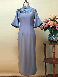Cornflower-blue cheongsam dress  with wide lace piping