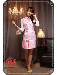 Pink phoenix tail brocade sleeveless qipao SMS83