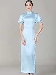 Light-blue cheongsam with Soft Chiffon frills Sleeves