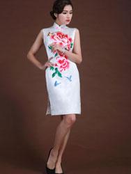 white silk with flowers short cheongsam