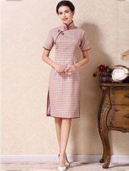 White-watermelon colors lattice short qipao dress