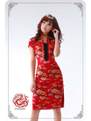 Red peony brocade cheongsam dress SMS09