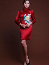 Wine red silk cheongsam 3/4 sleeves