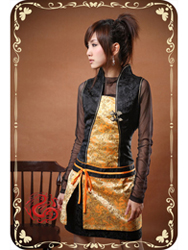 Black with golden brocade cheongsam dress SMS75