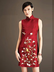 Wine red thai silk embroidery short qipao dress