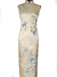 Peony and butterfly painted silk cheongsam dress SQH03