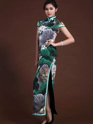 Pure silk satin cheongsam with lotus