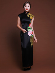 Black silk satin with gloden phoenix embroidered cheongsam
