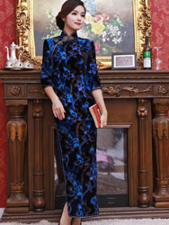 Dark blue velvet long cheongsam