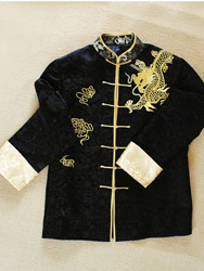 Men's black jacket with golden dragon and clouds embroidery