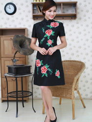 Black embroidered improved china dress