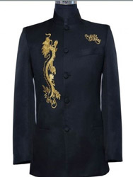 Black wool with dragon embroidery men's jacket ccm38
