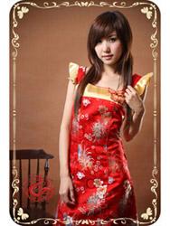 Red mum brocade modern cheongsam dress SMS36