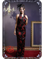 Black with red plum dress SMS29