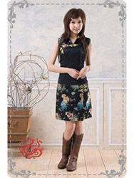Black cheongsam dress sms59