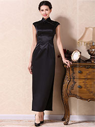 Black silk long cheongsam dress