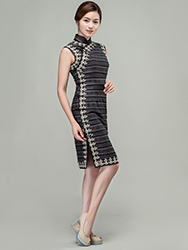 Grey modern short qipao dress