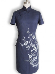 Dark blue cotton with plum painted cheongsam SQH40