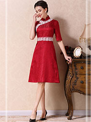 Garnet red A-skirt qipao dress