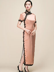 Silk satin with lace piping  long qipao dress