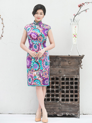 Silk daily cheongsam with flowers